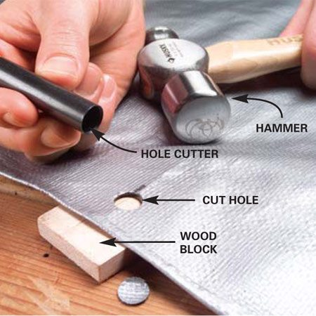 <b>Photo 1: Punch the hole</b></br> Mark the desired location of the grommet. Slide a wood block under the tarp mark and align the hole cutter over the mark. Strike the hole cutter sharply with a hammer until it punches through the tarp.