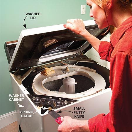 <b>Photo 1: Lift the lid</b></br> Slide a small putty knife between the washer lid and the cabinet. Push the putty knife against the spring catch while lifting up on the lid. Release both catches and fold the lid back.
