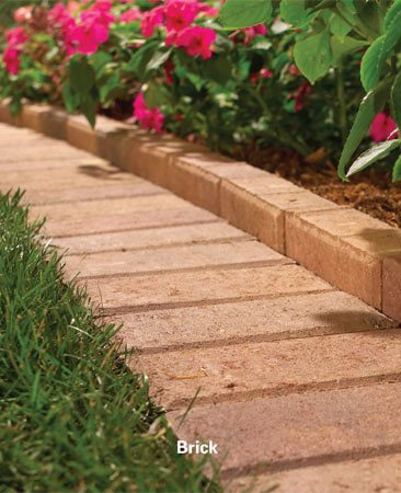 <b>Brick requires more maintenance</b></br> Brick edging looks good, but grass will creep into the cracks, so you've got a little more maintenance.