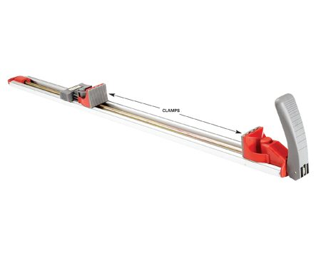 <b>Voted favorite tool by readers</b></br> The gripping rubber clamp feet even let you clamp at angles up to 22.5 degrees as a guide for angled cuts. Different lengths  of straightedges are available, from 24 to 99 in. The 24-in. model costs $35. The BORA Edge Clamp from Affinity Tool Works is one brand (borapro.com). You can also find clamping straightedges at <a href='http://www.rockler. Com'>rockler.com</a> or through our affiliation with <a href='http://www.amazon.com/gp/product/B001JQN60K?ie=UTF8&tag=familhandy-20&linkCode=as2&camp=1789&creative=9325&creativeASIN=B001JQN60K'>amazon.com</a>.