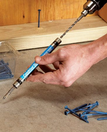 <b>Makes driving concrete screws fast and easy</b></br> If you drive lots of concrete screws, save time with a concrete screw installation kit (one brand is Buildex Tapcon, <a href='http://www.buildextapcon.com'>buildextapcon.com</a>). It contains the masonry drill bit and screw drive on the same shaft. You drill the hole and just slip the driver shaft over the bit and sink the screw with the attached screw drive. The whole operation takes about 30 seconds. You'll find the kit (about $22) near the concrete screws at home centers or through our affiliation with <a href='http://www.amazon.com/gp/product/B000BPBW42?ie=UTF8&tag=familhandy-20&linkCode=as2&camp=1789&creative=9325&creativeASIN=B000BPBW42'>amazon.com.</a>