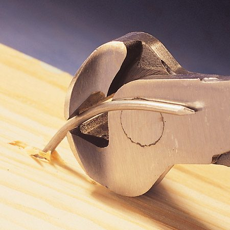 <b>Pulls nails without damaging the wood</b></br> Put $11 nippers in your tool belt anytime you're removing trim and you'll make quick work out of pulling the old nails—without damaging the wood's surface. The sharp jaws bite into the nail, holding it firmly as you roll the nippers back to pull out the nail from the back side of the trim. Buy them at home centers or through our affiliation with <a href='http://www.amazon.com/gp/product/B000JNNVP4?ie=UTF8&tag=familhandy-20&linkCode=as2&camp=1789&creative=9325&creativeASIN=B000JNNVP4'>amazon.com</a>.
