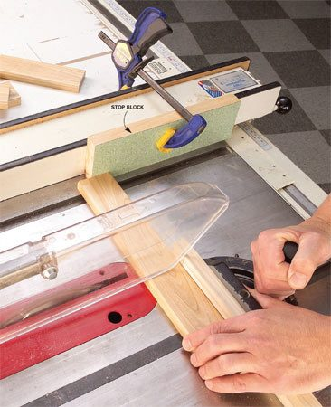 <b>Important table saw safety</b></br> When you're crosscutting on a table saw, set the cut length with a block clamped to the fence. Don't <em>ever</em> use the fence directly to avoid getting a board kicked back right at you. Instead, clamp a block of wood to the fence before the blade. Then the end of the board will be free of the fence during and after the cut. If you make a block that's exactly 1 in. thick, you can set the fence scale at 1 in. greater than the length you're after. No tricky fractions involved.