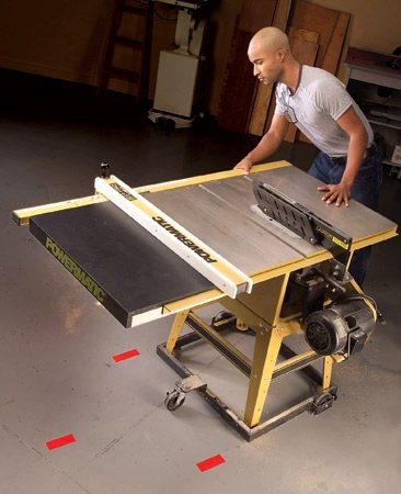 <b>Use duct tape to mark a level spot</b></br> You've finally got your table saw on a mobile base so it's easy to pull out and put away on the weekend. Finish the job by finding a level spot on the floor that's also convenient for sawing boards without obstruction. Mark the wheel positions with bright-colored duct tape and now you can roll the saw to the same flat spot every time you saw.
