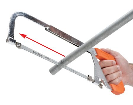<b>Install blade so teeth face forward</b></br> Install the blade on a hacksaw so the teeth face forward. The saws are designed so the blade will cut when it's pushed (the forward stroke) rather than when pulled. Some blades have an arrow that shows the correct installation (the arrow points toward the handle). Install the blade so it's tight in the saw and won't bend. When you do a lot of cutting, the blade will heat up and expand, so be sure to tighten it if it starts to bend.