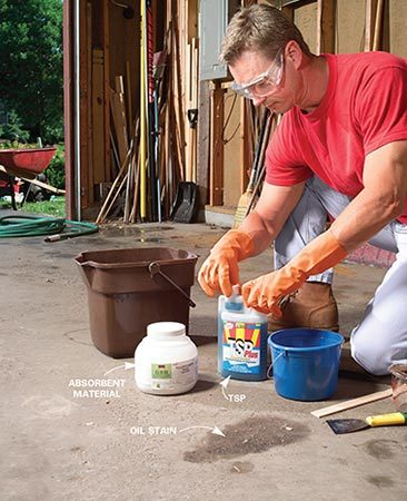 <b>Photo 1: Mix up an absorbent solution</b></br> Pour 1 oz. trisodium phosphate (or TSP substitute) and a cup of water into a small bucket and mix. Add about a cup of absorbent material and mix to make a creamy paste. Wear eye protection and rubber gloves.
