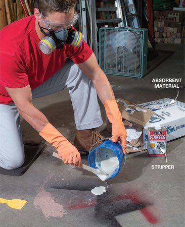 <b>Photo 1: Apply the stripper solution</b></br> Add paint stripper to an absorbent material to make a creamy paste. Spread a 1/4- to 1/2-in. layer of paste over the paint stain. Then wait 10 to 20 minutes while the stripper loosens the paint stain.
