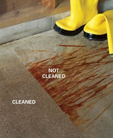 <b>Photo 4: Seal the concrete once it dries</b></br> Acid treatment leaves the surface of the concrete slightly rougher, like fine sandpaper. Once it's dry, seal your floor to reduce future staining.