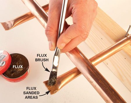 <b>Photo 7: Wipe on flux</b></br> Brush a thin layer of flux on all surfaces to be soldered. Then reposition the 3/4-in. tube over the formed ends of the 1/2-in. tubes.