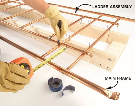 "<b>Photo 12: Mark the areas to be sanded</b></br> Position the completed ""ladder"" upside down over the main frame. Mark the tubes at the intersections. Sand and flux the marked areas."