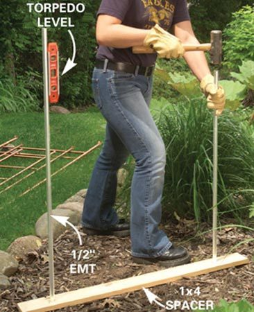 <b>Photo 15: Install the completed trellis</b></br> Drive 5-ft. lengths of 1/2-in. metal conduit about 12 to 18 in. into the ground to support the trellis. Drill 5/8-in. holes in a 1x4 and use it to hold the pipes at the correct distance apart. Remove the 1x4 and slide the trellis over the stakes.