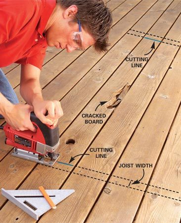 <b>Photo 1: Cut out the bad board</b></br> Draw a square line on the decking to one side of a joist below. Cut the deck board with a jigsaw. Pull the decking nails with a cat's paw.