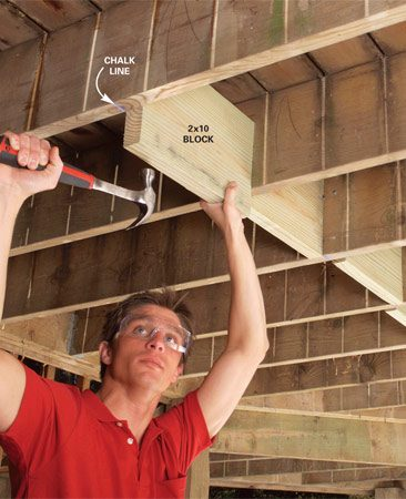 <b>Photo 1: Tap in snug-fitting blocks</b></br> Snap lines for blocks every 3 to 4 ft. along the joist span. Measure and cut the blocks to fit tightly. Tap them into place in a staggered pattern.