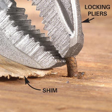Pull a headless nail with locking pliers