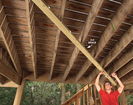<b>Photo 1: Add diagonal bracing</b></br> Cut and nail a treated 2x4 diagonally from corner to corner under your deck. Drive two 16d galvanized nails at each joist.