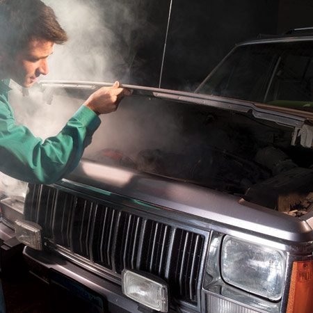 <b>Open your hood and let everything cool down</b></br> Don't mess with the radiator cap or anything yet! Don't touch anything until you can do so comfortably. You could get a serious burn. You might have to wait as long as 45 minutes. As the engine cools, look for splits or tears in the hoses. The telltale signs of a blown hose will be coolant splashed over the engine and under the hood. This alone doesn't mean you have a blown hose, however. It could be a faulty thermostat that caused the radiator cap to release. If the cap has a pressure-release flap that's released, your engine may have only overheated, but if the cap is intact and you can see a leak in the heater hose, you'll be able to fix it. Once the engine is cool, remove the radiator cap. Put the cap back on after the fix.