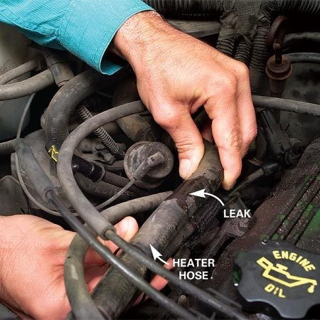 <b>Look for a leak along the length of your heater hose</b></br> Carefully examine the hose from the water pump back to the heater core inlet and outlet near the firewall (backside of the engine compartment).