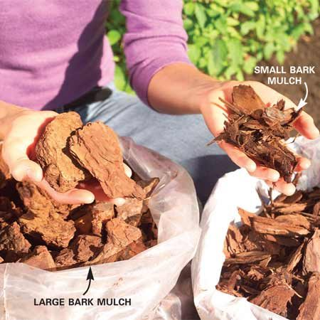 <b>Chunky mulches</b></br> Bark mulches consisting of large pieces will last longer than smaller bark and shredded-wood mulches.