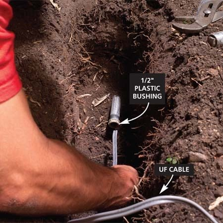 <b>Photo 3: Push the wire through</b></br> Replace the conduit fittings with plastic bushings. Lay the UF cable in the bottom of the trench and push the cable through the conduit. Cut it to length, leaving 3 ft. of extra cable at the post hole and at the outlet.