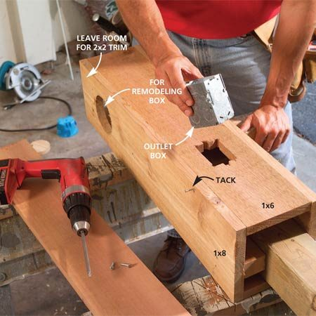 <b>Photo 7: Cut holes for the electrical boxes</b></br> Trace and cut the hole for the outlet box in the second 1x6. Tack the 1x6 to the sides, then slip the box through the hole and screw it to the notch. Shim out the box if needed, and then remove the 1x6.