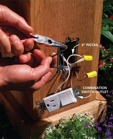 "<b>Photo 11: Wire the switch</b></br> Connect the switch/outlet with 6-in. ""pigtails"" for the neutral and ground, using Figure B as a guide."