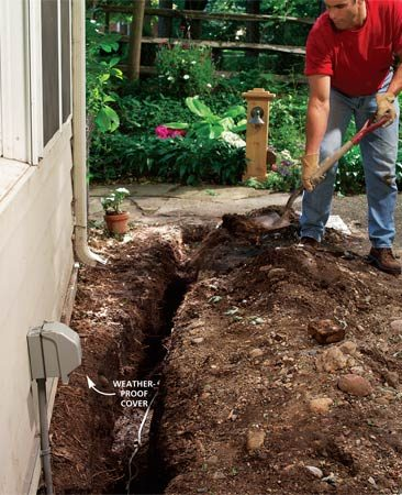 <b>Photo 14: Finish up</b></br> Add a weatherproof cover to the house outlet and fill the trench after the electrical inspection.
