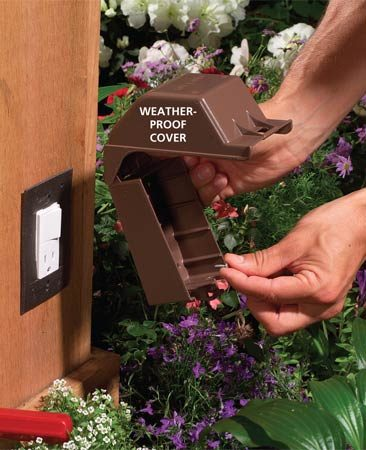 <b>Photo 12: Install the weatherproof cover</b></br> Mount the gaskets and screw special weatherproof covers over the switch/outlet.