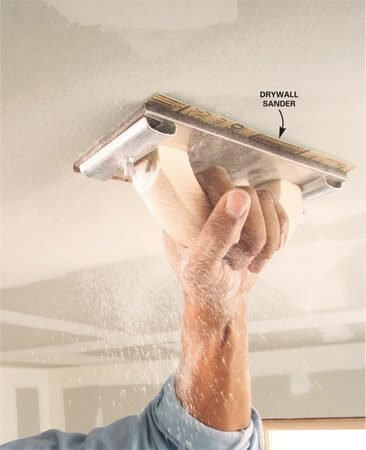 "<b>Using a drywall sander</b></br> Sand with light pressure along the edge of seams and around screws to avoid ""fuzzing"" the drywall paper. Sand the center of seams just enough to remove ridges and bumps."