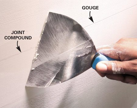 <b>Fill grooves with more joint compound</b></br> Touch up grooves and large ridges with another coat of joint compound rather than trying to sand them out. It may take a few coats to fill deep grooves.