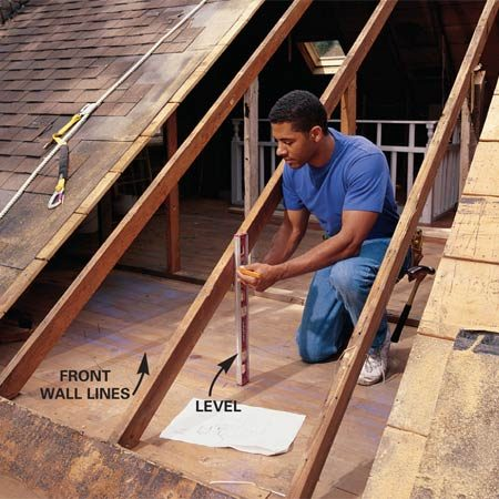 <b>Photo 2: Make sure everything is plumb</b><br/>Using dimensions from your plan, draw lines on the floor to indicate the location of the front dormer wall. Plumb up from the outside face of the wall line and mark the rafters. Deduct an additional 1-1/2 in. to allow space for the new header (Photo 4) and cut off the rafters with a circular saw.