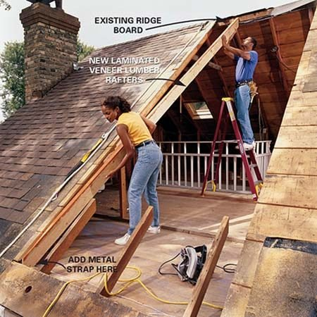 <b>Photo 3: Install the new rafters</b></br> Cut the new triple rafters to the same length and angles as the old and slide them under the roof sheathing. Nail through the ridge board into the ends with three 16d common nails. Nail them together with pairs of 16d nails every 16 in. Toenail the bottoms to the plate with two 16d nails, then add metal strap.