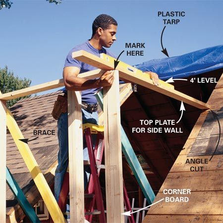 <b>Photo 5: Install the top plate </b></br> Add a corner stud, then cut the roof slope angle on the end of a 2x4 to use for the top plate of the side wall. Put the plate in position, level it and mark its length.  Cut it and nail it to the corner stud and roof, making sure it remains level.