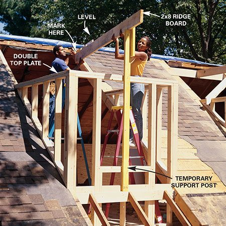 <b>Photo 7: Place the ridge board</b></br> Cut a 2x4 to temporarily support the new 2x8 ridge at its correct height (see Figure B). Hold the ridge board level and mark the side rafters at the top of the ridge board. Cut a 2x8 header to fit across the opening and attach it to the new rafters at that height with metal joist hangers.