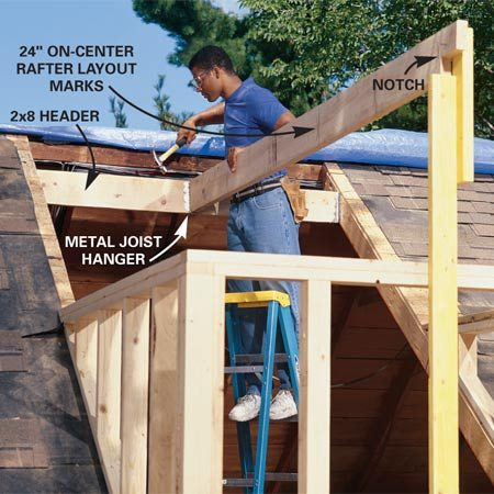 <b>Photo 8: Attach the ridge board to the header</b></br> Cut the ridge board to length and notch it according to your soffit details. Then nail it to the center of the header, using a metal joist hanger for extra strength. Cut and install the common rafters spaced 24 in.  on center (Figures B and C,).