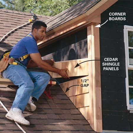 <b>Photo 14: Install the windows and siding</b></br> Flash and install the windows. Then staple No. 30 building paper to the sides, lapping top sheets over bottom sheets. Nail the corner boards into place and add the siding. Prime and paint.