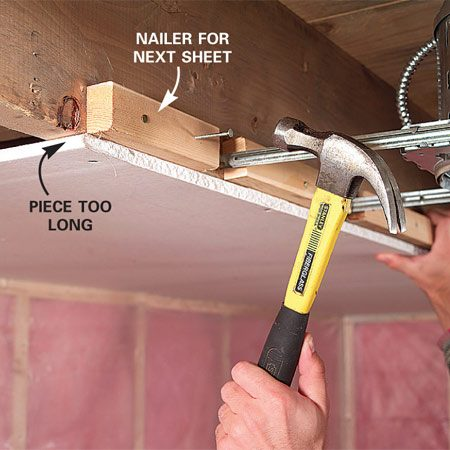 <b>Photo 10: Too long? No problem</b></br> No need to remove a too-long sheet—just add nailers so you can screw on the next sheet.