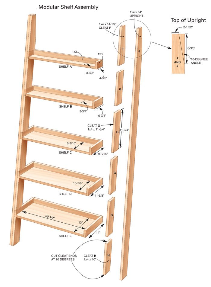 leaning tower of shelves the family handyman. Black Bedroom Furniture Sets. Home Design Ideas