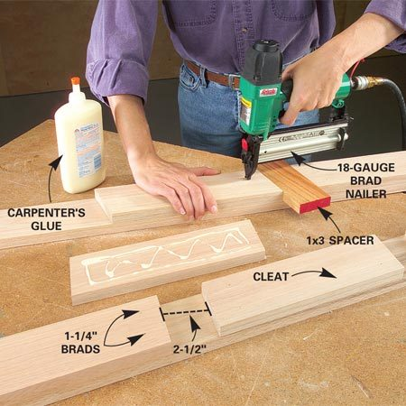 <b>Photo 6: Attach the cleats to the uprights</b></br> Glue and nail the shelf cleats to the uprights using a 1x3 spacer. Hold each cleat tight to the spacer.