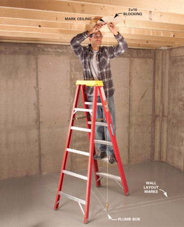 <b>Match ceiling and floor points</b><br/>Drop the plumb bob from the ceiling and suspend it about 1/2 in. above your floor.