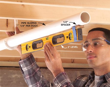 <b>Pipe leveling trick</b></br> Tape a shim to one end of your level and use it to set the slope of plumbing pipes.