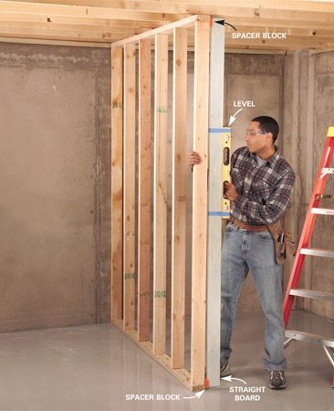 <b>Spacer block tip</b><br/>Plumb walls using a straight board with spacer blocks of equal thickness nailed to each end.