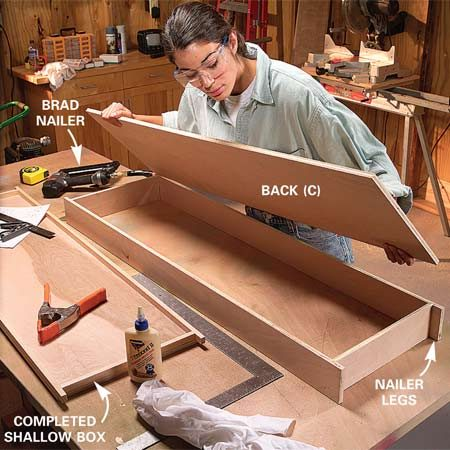 <b>Photo 5: Fasten the sides and backs</b></br> Glue and nail the sides, top and bottom first, then glue and nail on the 1/2-in. plywood back (C) to square each box. Wipe off excess glue with a damp rag.