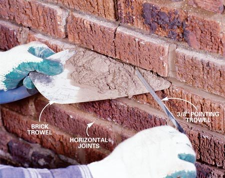 <b>Photo 5: Fill the joints with mortar</b></br> Load mortar onto an overturned brick trowel, hold the trowel under the horizontal joint—tight to the brick—and sweep 1/4-in. slivers of mortar into the cavity using a 3/8-in. wide pointing trowel. Fill the horizontal joints first. Avoid getting mortar on the brick face.