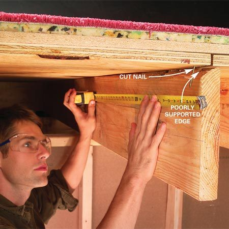 <b>Photo 1: Measure the gap</b><br/>Measure the length of the subfloor gap for 2x4 blocking. Extend the block about 1 ft. on each end. Cut away protruding nails with diagonal cutters.