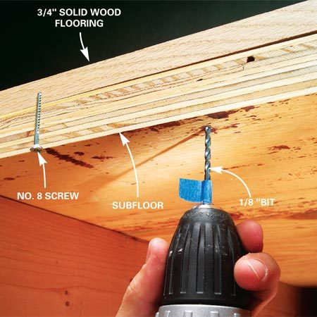 <b>Screw from below</b><br/>Mark the depth of the pilot hole on a 1/8-in. drill bit with tape. The depth should be 1/2 in. less than the floor thickness. Drill pilot holes 4 to 8 in. apart. Drive No. 8 wood screws flush to subfloor.