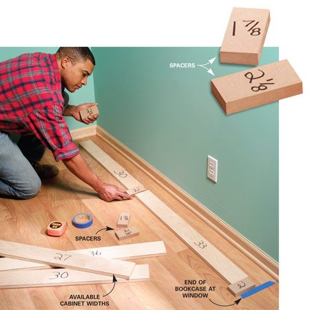 <b>Photo 1: Find the best spacing for your area</b></br> Cut wood strips to match cabinet widths and various spacing widths. Experiment until you determine the sizes that best fit your space.
