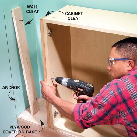 <b>Photo 3: Attach cleats for the end stile</b></br> Predrill and screw a cleat to the end cabinet and another to the wall to support the end stile. Use screw-in drywall anchors to mount wall cleats.