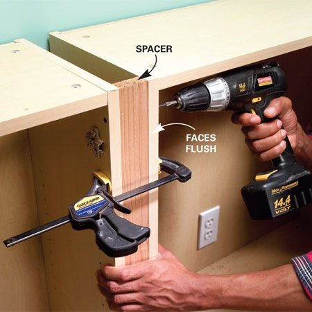 <b>Photo 4: Screw the cabinets together</b></br> Join cabinets by driving 1-5/8-in. screws into the spacers between them. Predrill and make sure the spacers are flush with the cabinet fronts. Position the cabinets and screw them to the base.