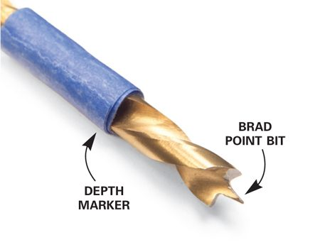 <b>Detail of a brad point bit</b></br> Use a brad point bit to drill shelf support holes. The point keeps the bit from moving as you start the hole.