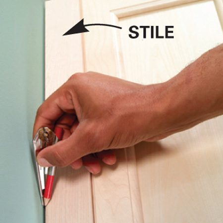 <b>Stile detail</b></br> Keep stiles 1/8 in. above the top of the doors.